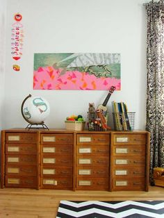 Clever organising and storage ideas for a kids bedroom. With the new year just beginning now is the time when many parents take a look at their home and plan the next round of home improvements ready for. Casa Kids, Mid Century Credenza, Home And Deco, Kid Spaces, Beautiful Space, Betta, Decoration, Kids Bedroom, Childrens Bedroom