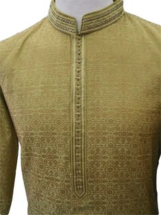 Olive green mens Kurta (Long Shirt) and gold churidar set.(Draw stringed tight at ankle Indian trousers)Ideal for Asian weddings , Bollywood Parties or any special occasion.Please note the Kurta is not shaded as in the photographs. Nigerian Men Fashion, Indian Men Fashion, Mens Fashion Wear, Gents Kurta Design, Boys Kurta Design, Kurta Pajama Men, Kurta Men, Mens Designer Shirts, Designer Clothes For Men