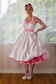 1950's Rockabilly 'Ruby' Wedding Dress with Lapels, Sash, Full Circle Tea Length Skirt and Petticoat - Custom Made to Fit on Etsy, $499.73