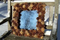 Large, Pine cone, Square (or Diamond), wall MIRROR.  Pine Cone Wreath, Wall Decor, Pinecone Wreath, Gifts. www.etsy.com/shop/NaturesCraftSupply