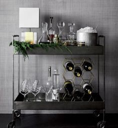 """Check out our internet site for more details on """"bar cart decor inspiration"""". It is a great spot to read more. Diy Bar Cart, Gold Bar Cart, Bar Cart Decor, Bar Cart Styling, Black Bar Cart, Crate And Barrel, Barrel Bar, Home Interior, Interior Decorating"""