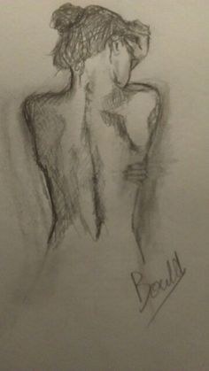 Womans bare back-pencil drawing. Drawn by Alma Bould