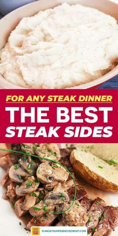 From mouth-watering roasted potato recipes to flavorful, fluffy, easy rice recipes and more, these easy Side Dishes for Steak are perfect for all of your favorite steak dinner ideas! Healthy Sides For Steak, Steak Sides, Steak Side Dishes, Steak Dinner Sides, Pasta Side Dishes, Pasta Sides, Side Dishes Easy, Best Sides For Steak, Steak Dinner Recipes