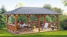 Pavillon de Jardin en Bois Orleans Epaisseur Poteaux 12 cm - LeKingStore