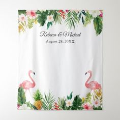9ad5894366b0 Tropical Flamingos Wedding Photo Booth Backdrop - floral style flower  flowers stylish diy personalize Bridal Shower