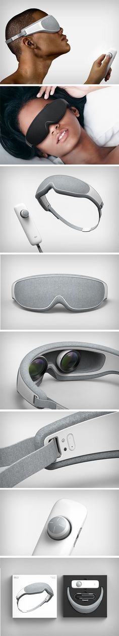 The Mild VR headset is designed to look familiar. While it is a VR device, it looks like it was designed to look good while worn, and not like you strapped a toaster to your face. The Mild comes with a fabric overlay on a plastic body. Mimicking the design of eye masks, they fit comfortably over the eyes while making it look less obvious like you're wearing a multimedia device on your head. Mens Gadgets, Cool Tech Gadgets, Gadgets And Gizmos, Electronics Gadgets, Technology Gifts, Cool Technology, Wearable Technology, Technology Gadgets, Vr Headset