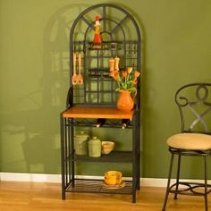 Home Decorators Collection Dome Steel 26 in. W Baker's Rack with Wine Storage in Black-BE4650 - The Home Depot