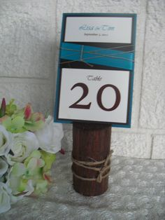 Table Number Holder Red Oak Rustic Wooden by dazzlingexpressions