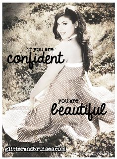 If you are confident, you are beautiful.  Size does not = beauty or worth. Plus size, pinup, vintage, black and white brunette