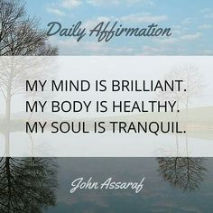 My mind is brilliant. My body is healthy. My soul is tranquil.