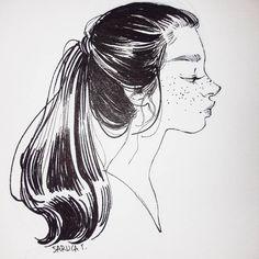 Inktober: Day 21/31 Any inktober drawings that you would like as prints? * * #art #drawing #sketchbook #sketch #sketchy #portrait #inktober #inkdrawing #ink #blackandwhite #monochrome