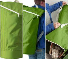Se o ecoponto está longe, o saco HUMLARE ajuda-vos ao seu encontro. Funciona como mochila ou como mala de mão e é muito fácil de transportar :)