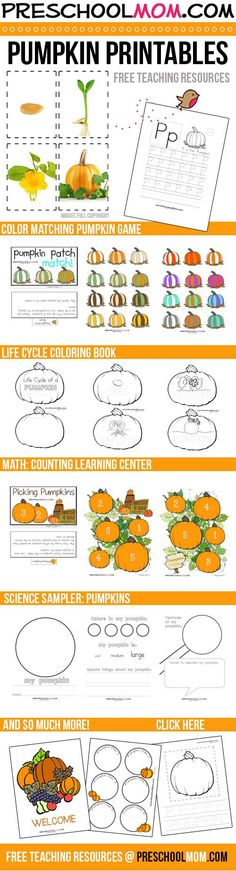 Free Pumpkin Printables----There is a TON here!  Life Cycle Photo Cards, Charts, Games, Coloring Pages, Science Experiments, Math Games, Learning Centers.....Jackpot!!