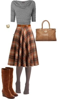 This kind of shirt with this kind of skirt. Love those plaid patterns! So versatile!
