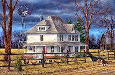 Chuck Pinson The Wind Takes You Back print for sale. Shop for Chuck Pinson The Wind Takes You Back painting and frame at discount price, ships in 24 hours. Farm Paintings, Country Paintings, House Paintings, Beautiful Landscape Paintings, Landscape Art, Agra, Fine Art Amerika, Old Windmills, Back Painting