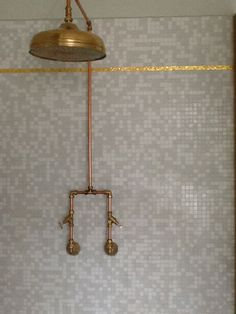 Downstairs bathroom- Exposed copper piping shower, though not the mosaics and definitely not the gold tiles! Downstairs Bathroom, Diy Bathroom Decor, Small Bathroom, Copper Bathroom, Bathroom Ideas, Teak Bathroom, Bathroom Tiling, Bathroom Remodelling, Barn Bathroom