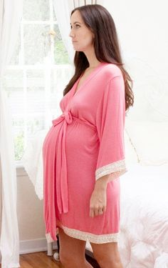 Maternity Hospital Gown Delivery Robe - Pink - Perfect as labor delivery gown, nursing mothers, for moms & to be moms, Pregnancy Photoprops