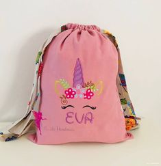 Unicorn embroidered backpack,Unicorn lover bag, Unicorn drawstring bag, Custom bag for girl, Party gift Ballet Class, Custom Bags, Kids Backpacks, Kid Names, Embroidery Thread, Party Gifts, School Supplies, Drawstring Backpack, Unicorn