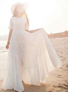 New Women Chiffon Lace Bohemian Summer Beach Dress Long Boho Maxi Sundress Dress #GL #Maxi #SummerBeach