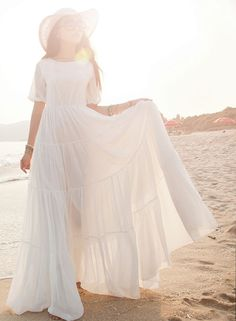 NEW Women Chiffon Lace Bohemian Summer Beach Dress Long Boho Maxi Sundress Dress | eBay