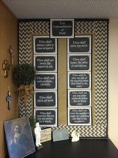 Chalkboard & burlap middle school Christian Catholic Math classroom bulletin board Ten Commandments High School Classroom, New Classroom, Good Shepard, Classroom Bulletin Boards, Ten Commandments, Middle School, Burlap, Education, Chalkboard