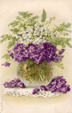 Violets, Lily of the Valley and Ferns