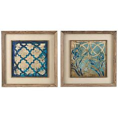 """Set Of 2 Uttermost 31"""" Square Stained Glass Wall Art"""