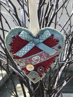 Excited to share this item from my shop: Felt heart beaded hanging felt heart isolation gift hand stitched birthday gift thinking of you love heart home decor wooden message tag Button Art, Button Crafts, Halloween Ghost Decorations, Halloween Ribbon, Beautiful Christmas Decorations, Homemade Ornaments, Just Because Gifts, Heart Crafts, How To Make Diy