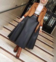 New Style Hijab Casual Gendut Ideas Modest Fashion Hijab, Modern Hijab Fashion, Street Hijab Fashion, Hijab Fashion Inspiration, Hijab Chic, Muslim Fashion, Modest Outfits, Skirt Fashion, Trendy Fashion