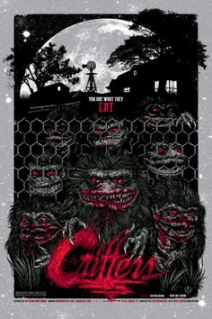 The Crites are one of my favorite movie monster creations and this poster showcases why!  Critters is a great monster flick!