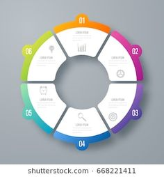 Infographics template 6 options with circles. Can be used for workflow layout, diagram, number options, step up options, web design, presentations Infographic Powerpoint, Infographic Templates, Information Visualization, Data Visualization, Circle Diagram, Diagram Design, Web Design, Graphic Design, Search Engine Marketing