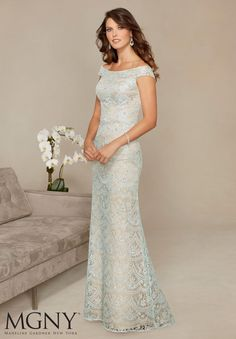 1177db192bb Evening Gowns and Mother of the Bride Dresses by MGNY Beaded Venice Lace  Matching Stole.
