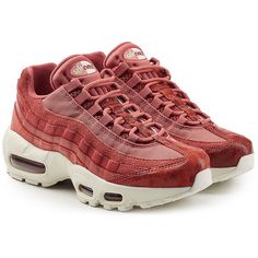 Nike Air Max 95 Sneakers ($225) ❤ liked on Polyvore featuring shoes, sneakers, red, red sneakers, suede leather shoes, nike shoes, nike trainers and nike