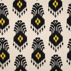 El Conveno Madden Mesa Black Yellow Ikat Cotton Drapery Fabric by Swavelle Mill Creek Fabrics