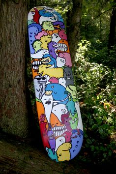 Custom skateboard done in acrylic and sharpie