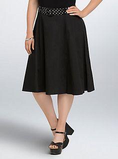 Plus Size Retro Chic High Waisted Swing Skirt, DEEP BLACK