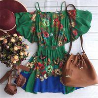 11.112016 Sexy verão mulheres Plus Size Chiffon vestido de ombro linha de impressão Vestidos mulheres