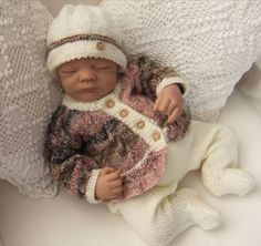 Baby Knitting Pattern - Newborn to 3 Months - Download PDF Knitting Pattern - Baby or Reborn Dolls Sweater Set #etsy