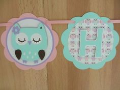 Pastel Owl Bird Birthday Party Baby Shower Banner Sign Pink Aqua Turquoise Blue Purple