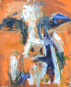 Cow Painting on Orange contemporary artwork