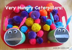 "Next, out came our ""caterpillar,"" which was actually a Pringles can covered in green construction paper. I cut the lid in half to make a mouth, lining the cut with duct tape to prevent sharp edges.  Add some wiggle eyes and a funky pipe cleaner, and you've got yourself a hungry caterpillar!"