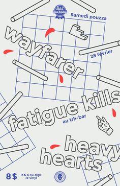 Affiche pour un show de WAYFARER + FATIGUE KILLS + HEAVY HEARTS organisé par Housebreaker Records lors des Samedi Pouzza. 28 février 2015