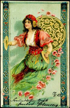 Artist Signed Postcard - Girl With Cymbals