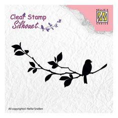 Tampon clear transparent scrapbooking Nellie Snellen OISEAU BRANCHE FEUILLE Scrapbook Titles, Scrapbooking, Tampons Transparents, Clear Stamps, Silhouette, Crafts, Stamping, Cricut, Birds