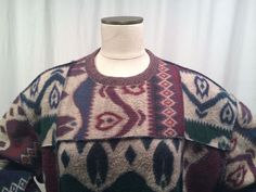 Women's Sweater 2X Hasting and Smith Patchwork Beige, Blue, Green, wine #HastingSmith #Crewneck