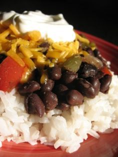 It is no secret that eating a meatless meal occasionally will save you money on your grocery budget.  Here is my family's favorite version of beans and rice:
