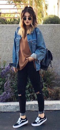 summer outfits Denim Jacket+ Brown Knit