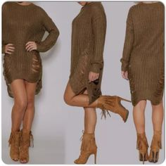 DISTRESSED SWEATER IN MOCHA New long sleeved mocha distressed sweater. Ribbed knit neck & cuffs with fraying detail. The sweater has a hi lo design as seen in the photos. Depending on height it could be worn as a dress; I style it as a layer over a white t shirt & faux leather leggings!! The sweater is a synthetic blend & not a heavy weight! I like it over a simple tank dress allowing the dress to show through the fraying which creates a nice visual contrast if you use a different color. The…