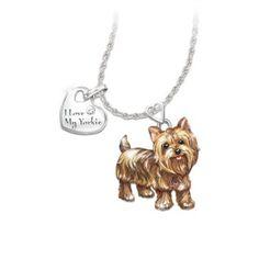 Pendant Necklace: Playful Pup Yorkie Diamond Pendant Necklace