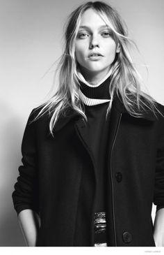 Top model Sasha Pivovarova wearing outfits for i-D Magazine fall-winter 2014 issue Photoshoot